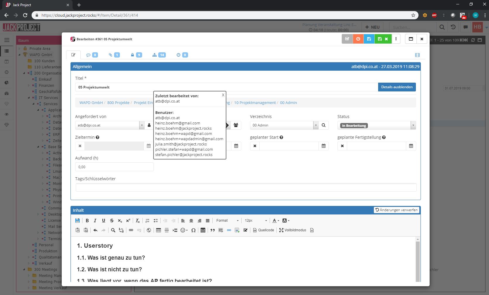 JackProject Aufgabenmanagement